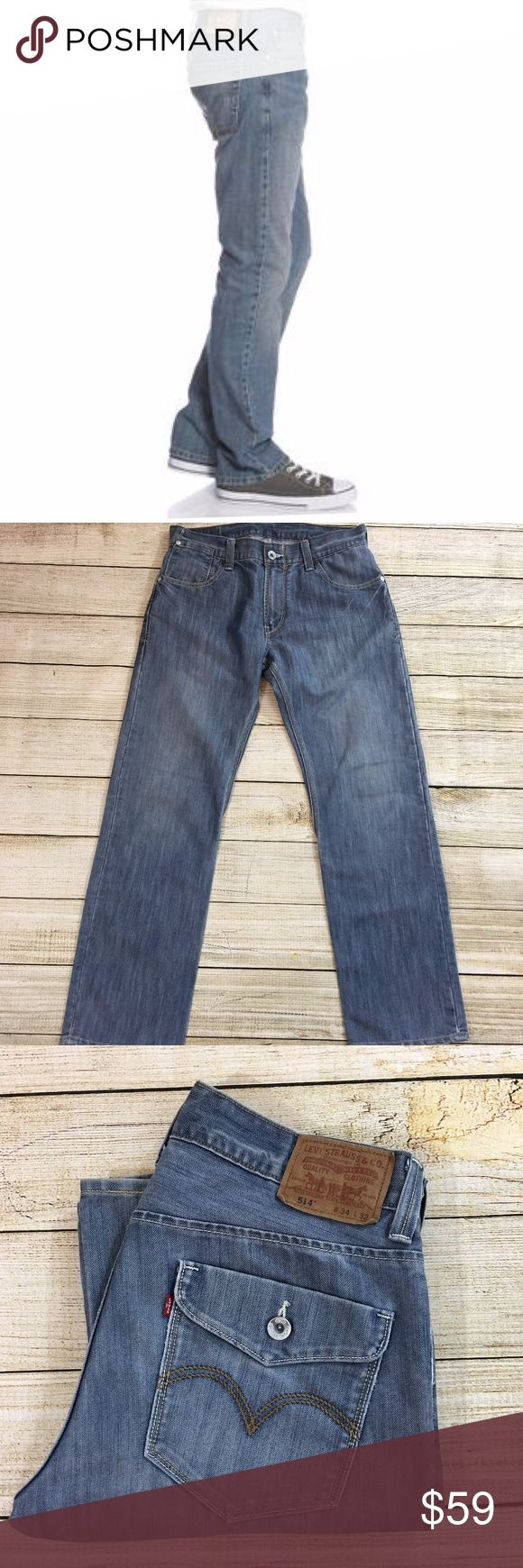 Levi's 514 Slim Straight Jeans 34 x 32 Inseam: 32 inches Lay Flat Waist: 16 inches Lay Flat Leg Opening: 8.5 inches Fabric: 54% cotton, 48% polyester Description: like new condition  Bundle & Save: 10% off or more  NO TRADES Shipping within 24 hours Levi's Jeans Slim Straight