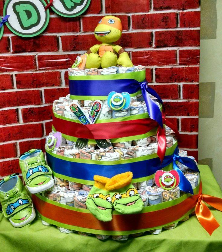 Teenage mutant ninja turtle diaper cake