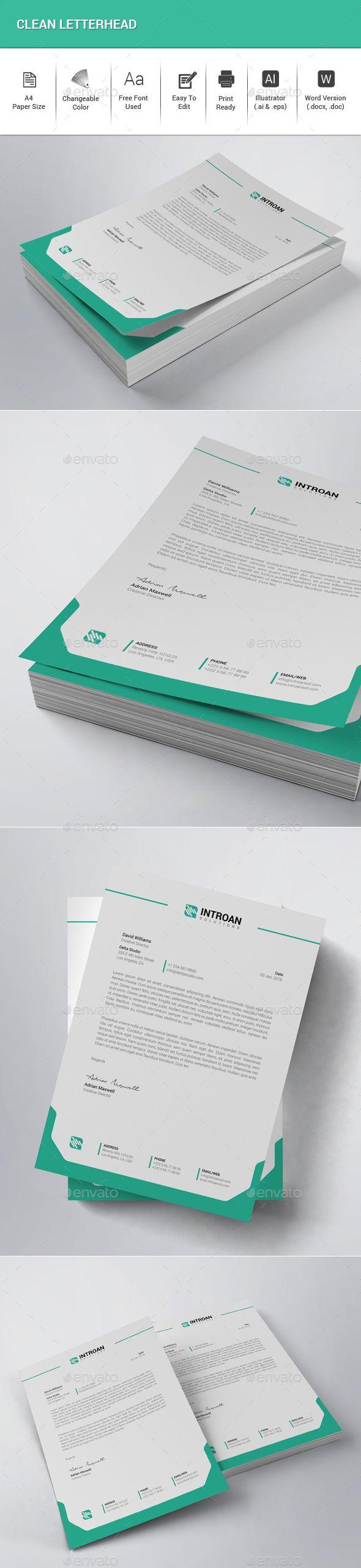 letter format on letterhead%0A Clean Letterhead