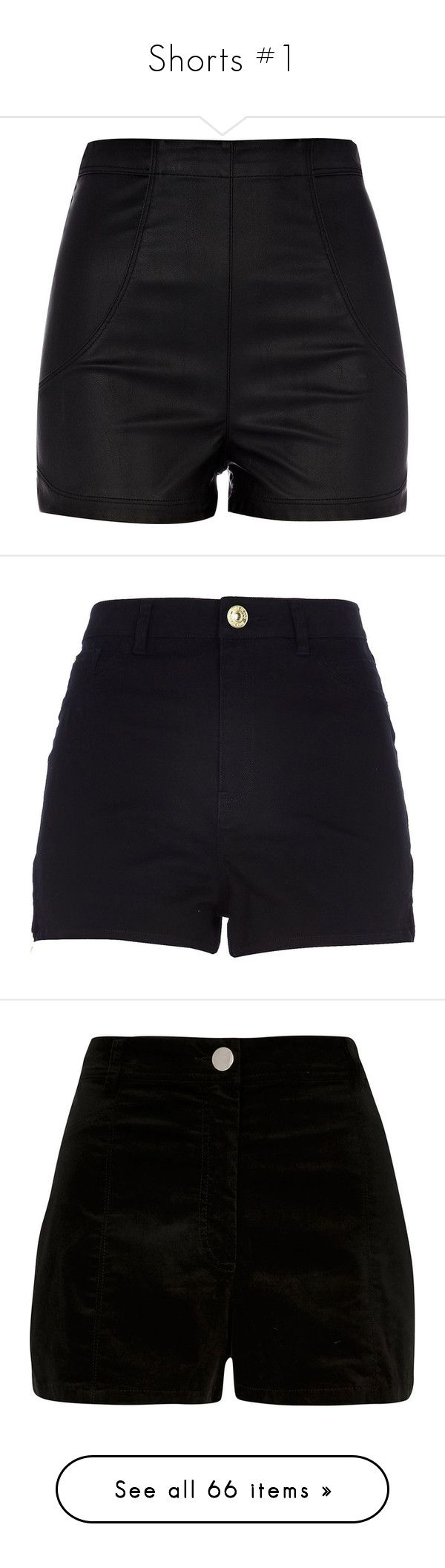 """""""Shorts #1"""" by meganhenderson845 on Polyvore featuring shorts, bottoms, pants, short, leather look shorts, high waisted faux leather shorts, highwaist shorts, high rise shorts, high-rise shorts and black"""