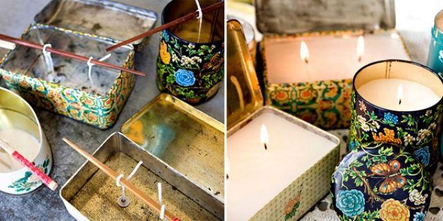Zelf kaarsen maken met oude blijkjes afkomstig van de rommelmarkt of de kringloopwinkel.