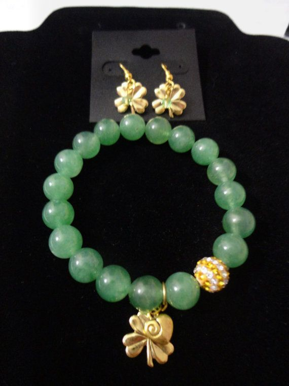 Green Jade gemstone bracelet with gold clover and heart charm paired with gold plated clover leaf earrings with swarovski crystal on Etsy, $9.25