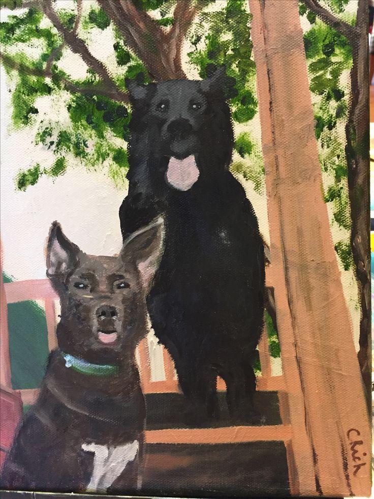 Carolina's Dogs-oil on canvas by Carol Rich