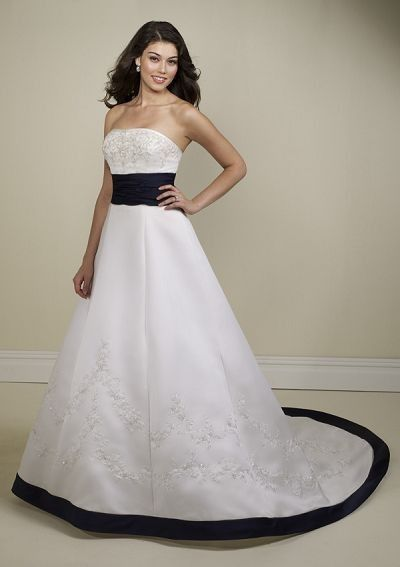 A Line Classic Satin Ball Gown Court Train Fullness Flat Neck Wedding Dress - A-Line Wedding Dresses - Wedding Dresses