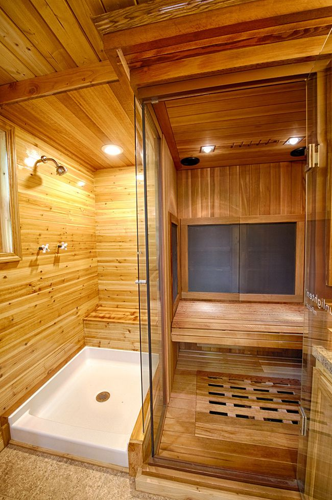 "Shower on left, raise white drain to full wide tub. Other side toilet/Sink. Add Top ""Rain"" shower, Shower speakers & Etc. Sauna in a Tiny House 
