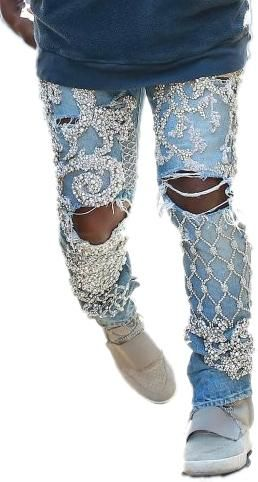 Kanye West wearing Balmain Custom Embellished Jeans