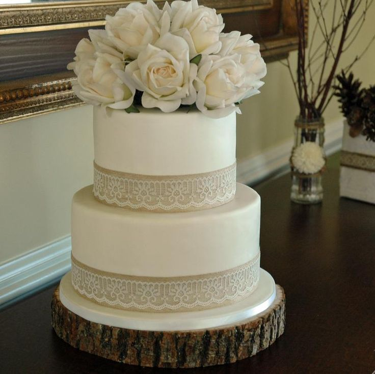 Cake With Fondant Lace : Fondant wedding cake with burlap and lace trim with fresh ...