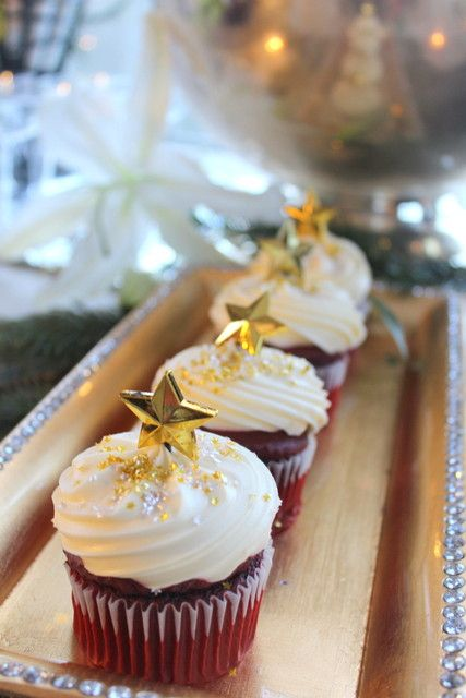 Gorgeous gold cupcakes at a  New Year's Eve party!  See more party ideas at CatchMyParty.com!  #partyideas #newyears