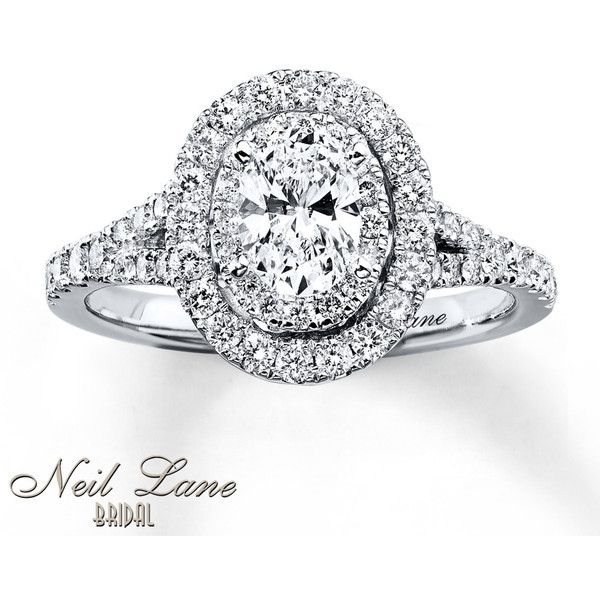 Neil Lane Engagement Ring 1 ct tw Diamonds 14K White Gold ($3,500) ❤ liked on Polyvore featuring jewelry, rings, diamond rings, oval diamond ring, diamond bridal rings, round diamond engagement rings and white gold engagement rings