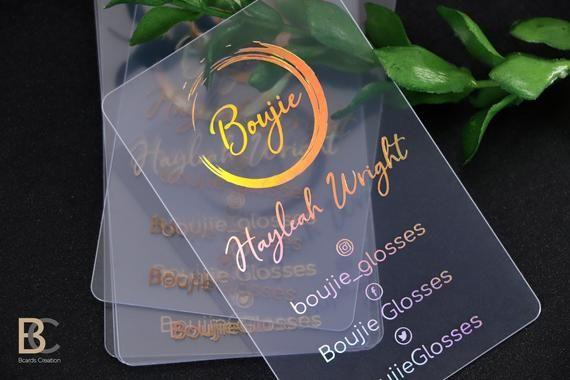Holographic Foil Business Card Clear Transparent Plastic Pvc Business Cards Gold Neon Clear Business Cards Foil Business Cards Clear Business Cards Plastic