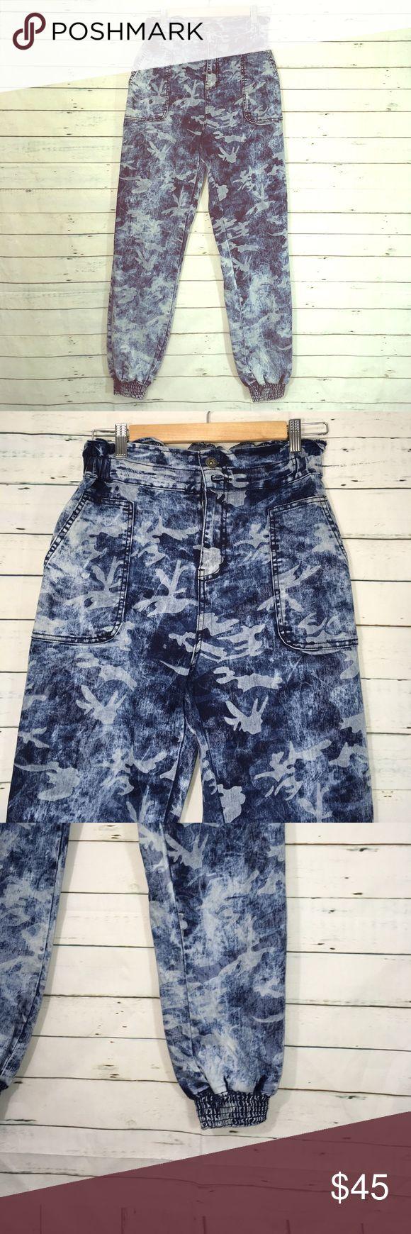 "Denim Camo High Waist Jean Joggers-NWOT Denim Camo High Waist Jean Joggers —NWOT  Waist size XL (12) Inseam 30"" Bukoo Denim Jeans"