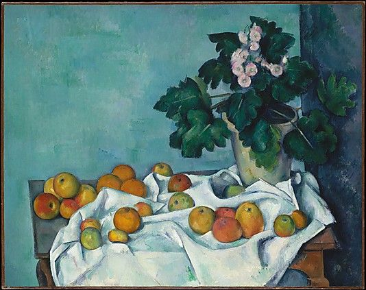 Still Life with Apples and a Pot of Primroses Paul Cézanne (French, Aix-en-Provence 1839–1906 Aix-en-Provence)