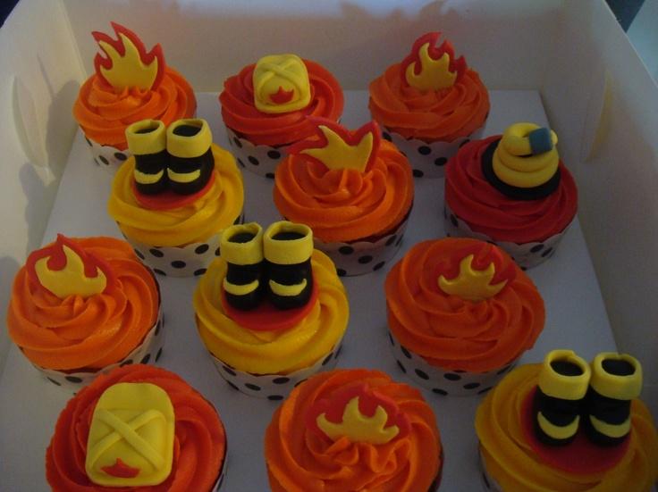 Fireman cupcakes