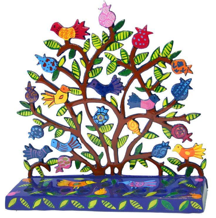 Flowers Chanukiah by Yair Emanuel available at Contemporary Judaica