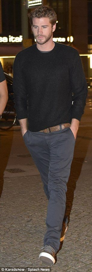 Laid-back: Aussie actor Liam (Gale Hawthorne) cut a casual figure, wearing a black, round-...