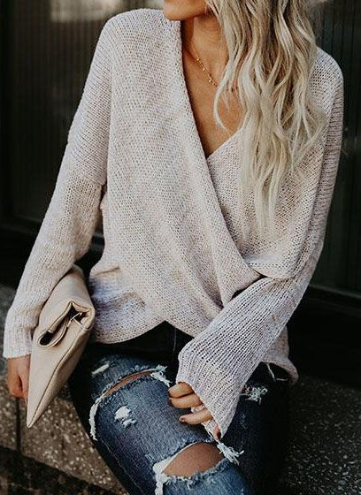 $41.99 Get ready for spring fashion! Find fashionable outfits for the new season.Simple Casual V Neck Front Cross Weekend Sweater Top