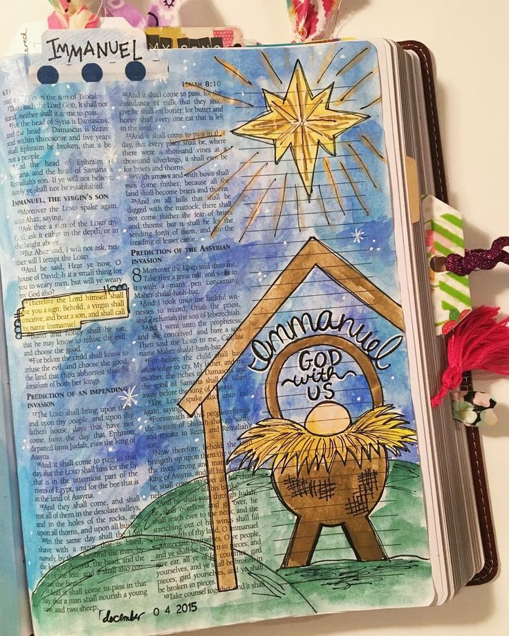 """I have been itching to do a new page in my journaling Bible since I was busy working in my gratitude journal in November. I did a really simple entry last night, and today I wanted to do something for Advent. I journaled Isaiah 7:14--""""Therefore the Lord Himself will give you a sign: Behold, the virgin shall conceive and bear a Son, and shall call His name Immanuel."""" Immanuel means """"God with us."""" I have a hard time wrapping my brain around the fact that Jesus walked the earth as a human. God…"""