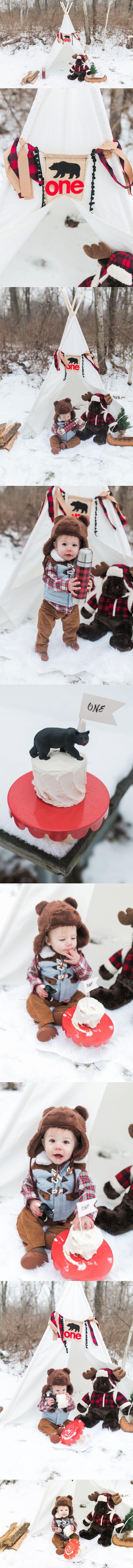 Camping first birthday photos/ Lumberjack first birthday photos/ first birthday cake smash/ winter birthday theme