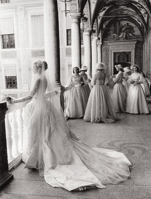 Grace Kelly and her bridesmaids, April 19, 1958. Photographed by Howell Conant