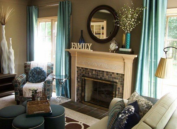 Contemporary Living Room Teal And Brown Decor Accent Colors