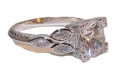 Amazon.com: 14k White Gold .925 Antique Style Engagement Anniversary Ring: Jewelry