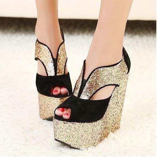 wedges shoes beautiful gold pu open peep toe wedge