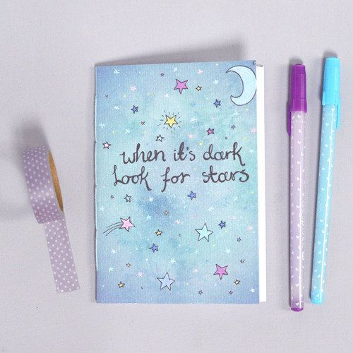 Cute Notebook - Look for Stars Illustration - Stars Moon Galaxy - Blank A6