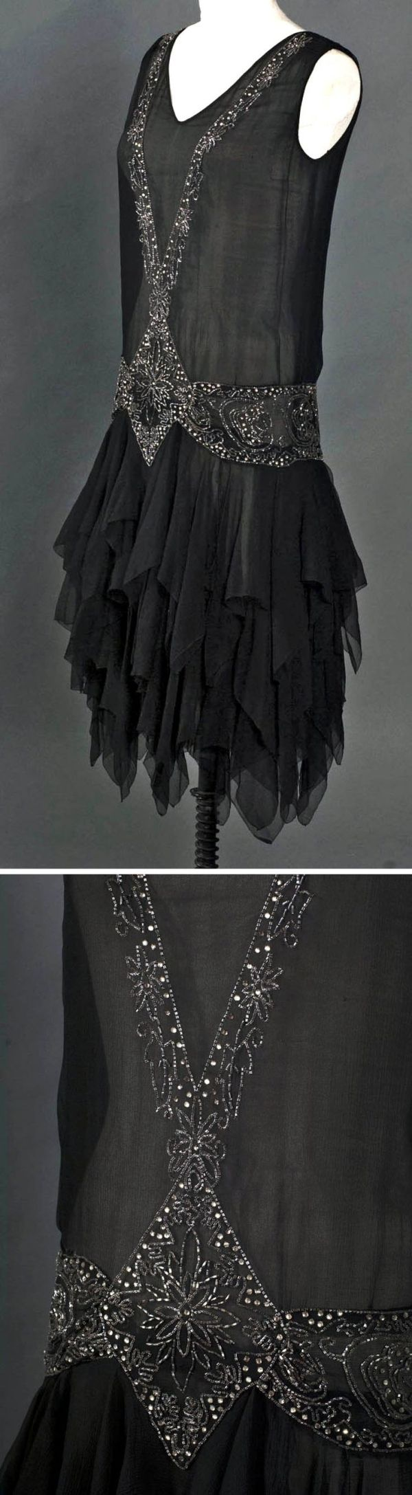Evening dress with tiered chiffon skirt, American, ca. 1929. Made for movement & dancing. Three layers of silk chiffon cut with handkerchief hem, with many points hanging down from substantial width of beading. Above this floating base, bodice hangs smooth & straight. Silver bugle beads & rhinestones. Smith College Historic Clothing by earlene
