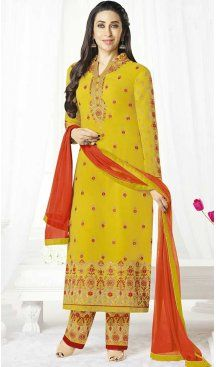 Karisma Kapoor Yellow Color Georgette Party Wear Shantoon Fabric Kameez | FHRK249228709