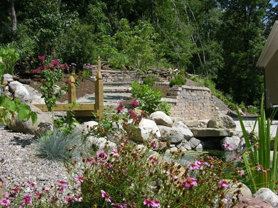 Pond, Waterfall, Patio, Retaining wall, firepit. Makes for a cozy relaxing backyard