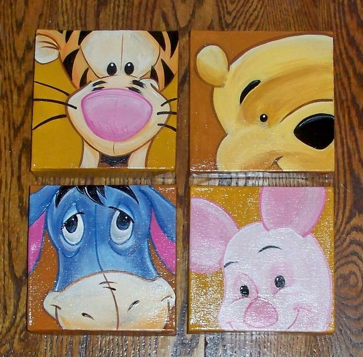 "Four 6"" x 6"" Nursery Canvas Paintings. decorativepaintingbylynne@hotmail.com"