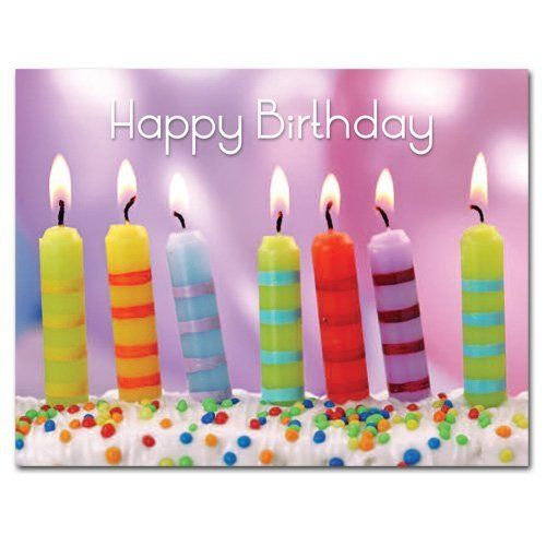 POSTCARDS: Birthday - Striped Candles, Box of 50 postcards by Cronin & Company. $12.90. Colorful postcards with short greeting and room for a brief message, signature and address. Postcards mail at the first-class postcard rate (currently 29 cents).