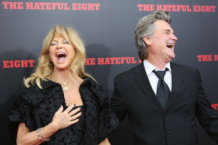 """Goldie Hawn and Kurt Russell share a laugh at the movie premiere of """"The Hateful Eight"""", 2015."""