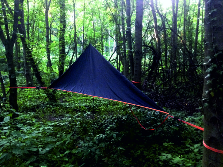 my new DIY tarp for three points hammock - fabric Nylon PU coated 10.000 mm column water - is not it beautiful? Able to set up only with one pole. Tags: tarp, hammock, tree, backpack, hiking, trekking, solo, hike, tent, coated, waterproof, windproof, ratchet, strap, webbing