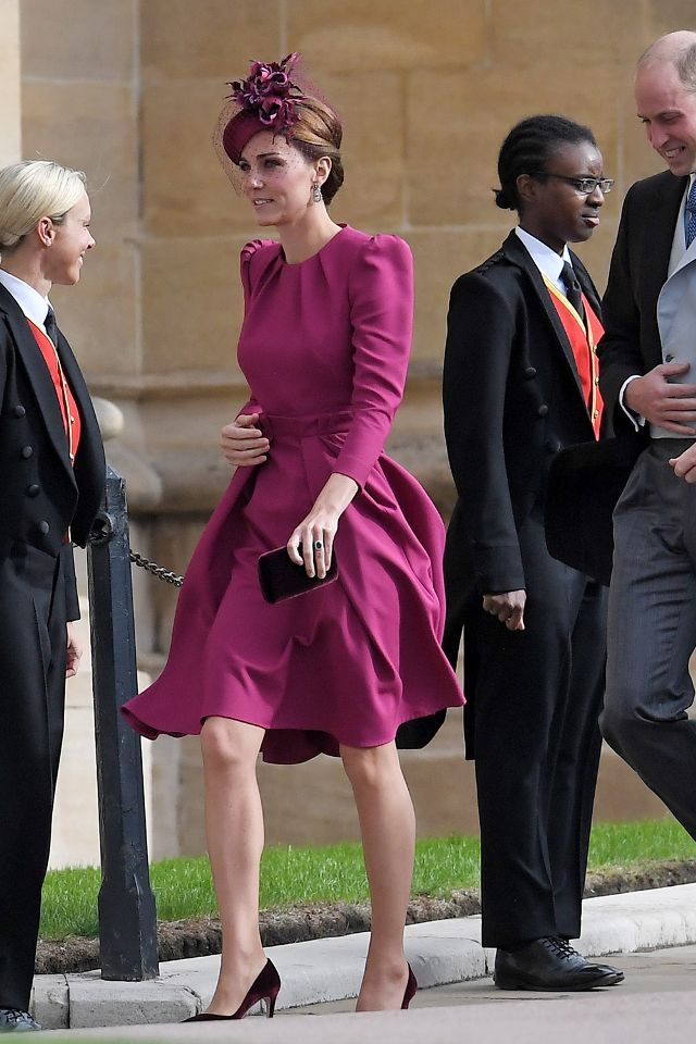 09e9044b5e3 Kate Middleton wearing a raspberry pink Alexander McQueen dress for  Princess Eugenie s wedding with Jimmy Choo velvet pumps