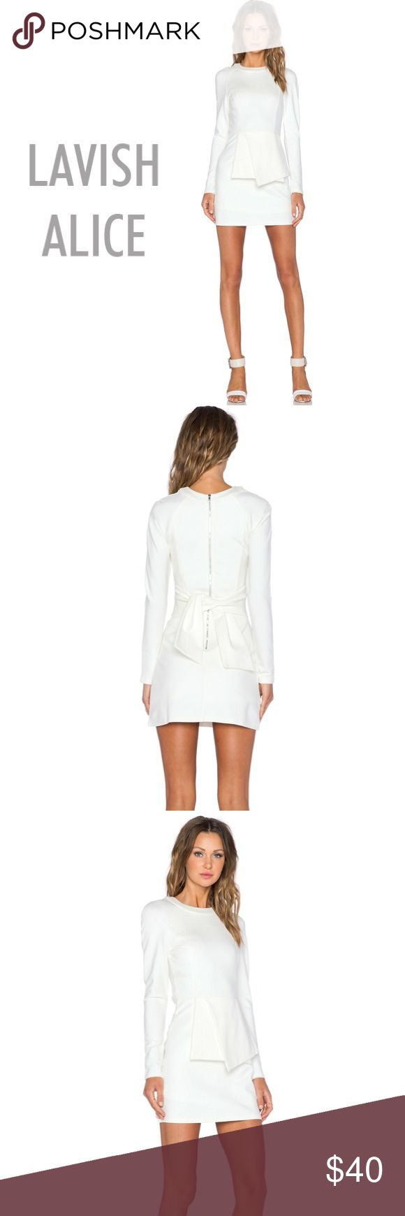 ✨LAVISH ALICE✨ TIE FRONT ✨MINI DRESS✨ in 🌟WHITE🌟 Lavish Alice women's mini dress crafted from a soft cotton blend. The dress falls to mid-thigh length and features a round neckline and long sleeves. Accentuated with a tonal tie at the waist to enhance the design. Secured with a rear zipped fasten. NEVER WORN! NEW WITH TAGS! ✨✨MAKE ME AN OFFER!!✨✨ Lavish Alice Dresses Mini