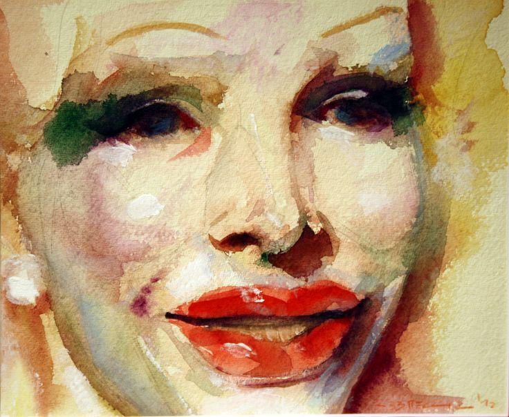 """""""Volto di donna"""" - acquerello su carta 23 x 19 cm, 2012 (Artist: F. Abbreccia)"""