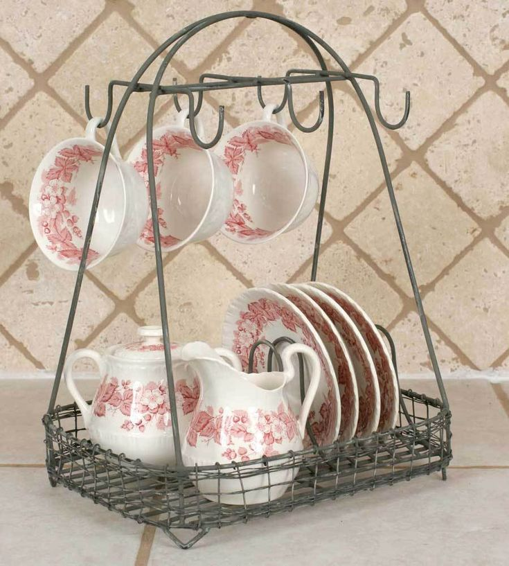 New Vintage Style Dish Teacup Rack Caddy Holder Shabby Chic French
