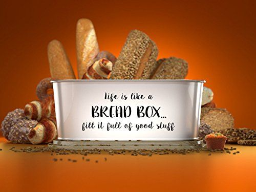 "INSPIRING DESIGN - This beautifully designed retro vintage bread bin show cases an inspiring and uplifting message. Nothing like a bit of good karma in the kitchen. MULTI USE - The firmly fitted bamboo lid doubles as a bread board. A convenient and versatile addition to any kitchen KITCHEN STORAGE - This is no small bread box! So utilizing it in the kitchen to help declutter just makes sense. Dimensions - 16.5"" Length x 7"" Wide x 15.7 x 6"" High"