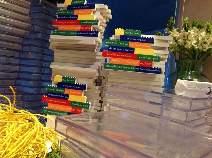 Invitations themed Lego.