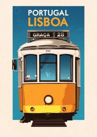 Lisboa & eléctricos!  Lisbon & trams!  :)    Vintage Travel Poster - Lisboa - Portugal - Lisbon  BY Rui Ricardo