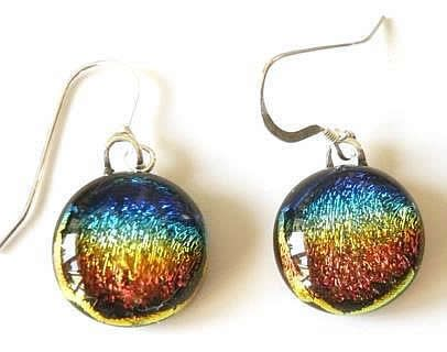 Pretty round rainbow dichroic glass dangles with solid silver hooks.