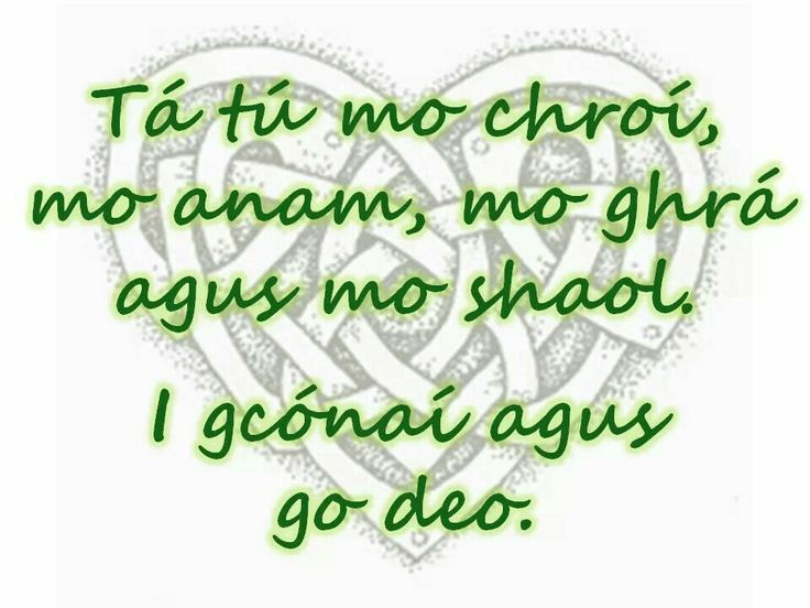 Irish means you are my heart my soul my love and my life always and forever