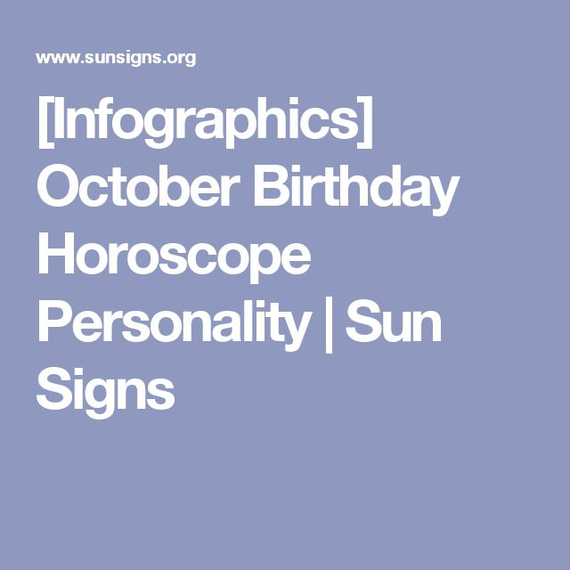 [Infographics] October Birthday Horoscope Personality | Sun Signs