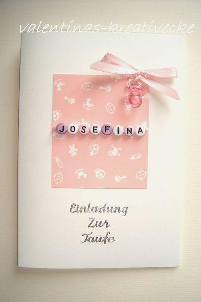 BESONDERE EINLADUNG EINLADUNGSKARTE ZUR TAUFE NAME von valentinas-kreativecke auf DaWanda.com