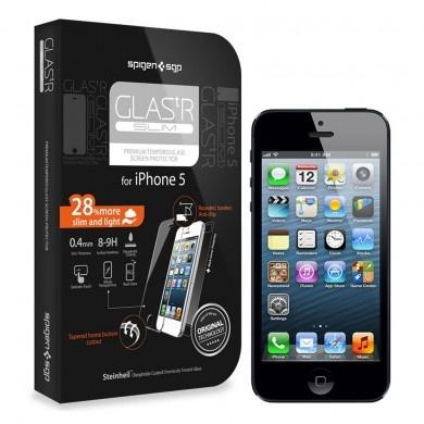 Protector Pantalla iPhone 5 Spigen SGP Cristal Templado Oleophobic Glas.tR SLIM