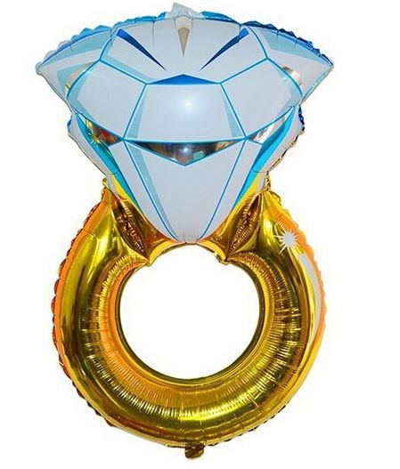 "SALE - 32"" (32 inches) GOLD Jumbo Diamond Ring Balloon/ Engagement Balloon/ Huge Balloon for wedding, photoshoot, party, Valentine's, etc."