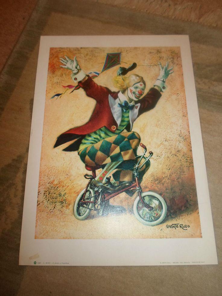 Vicente ROSO coloré art imprimer 1085  le clown et le cerf-volant  italien