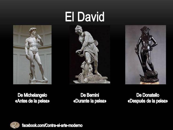 El rey David representado por tres maestros de la escultura en su pelea con Goliat