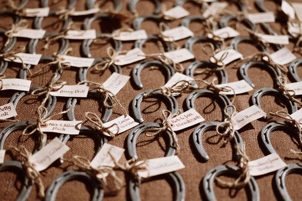 Love the idea of these horseshoe wedding favors. bring luck to all your guests :-)  featured+Big+Sky+Montana+rustic+ranch+wedding+|+JESSIE+++AL
